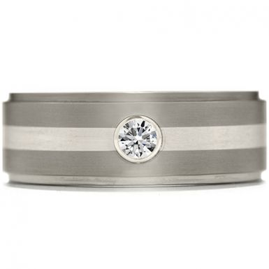 Hearts On Fire Commanding Grey Titanium Diamond Inlay Step Band This two-toned, grey titanium mens band, has a smooth and polished look. With a lighter shade of grey running through the center, and a small, perfectly cut diamond adding a little bit of flair, this lightweight, masculine ring is a great choice for men with classic taste.