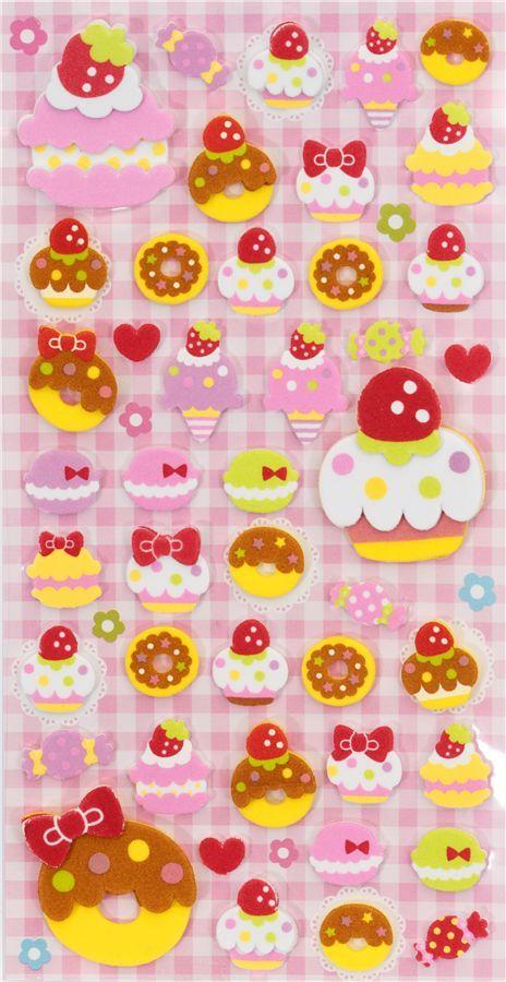 cute foam 3d sticker cupcakes donuts ice cream kawaii