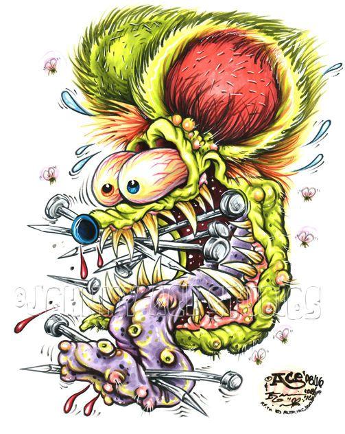Johnny Ace ORIGINAL ART! RAT FINK Ed BIG DADDY Roth KUSTOM KULTURE Skate toy! #JohnnyAceStudiosEdBIGDADDYRoth