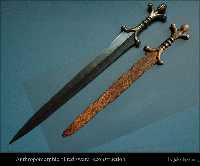 Anthropomorphic swords from the British La Tène period at the British Museum. This is a reconstruction that I have made based on the data I collected.