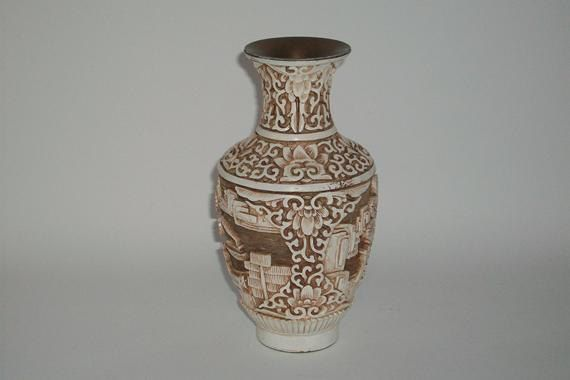 Vintage Carved Faux Ivory Dynasty Vase 1983 Asian By
