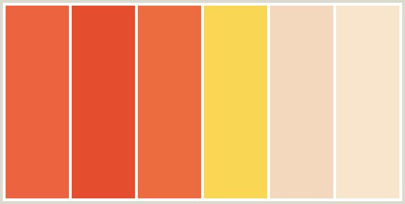 ColorCombo421 - ColorCombos.com color palettes, color schemes, color combos with hex colors codes #EC633F, #E44D2E, #EC6C3F, #F9D654, #F3D8BD, #F9E5CC and color combination tags BURNT SIENNA, BURNT SIENNA, CHAMPAGNE, CINNABAR, ENERGY YELLOW, ORANGE, ORANGE, ORANGE YELLOW, RED ORANGE, RED ORANGE, RED ORANGE, SIDECAR.