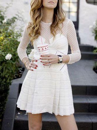 Luxurious White Dot Mesh Plane Party Dress - Fashion Clothing, Latest Street Fashion At Abaday.com