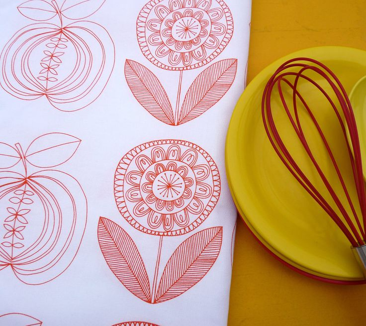 New Scandinavian Screen Printed Apple and Flower Tea Towel Fabric by Jane Foster. $12.70, via Etsy.