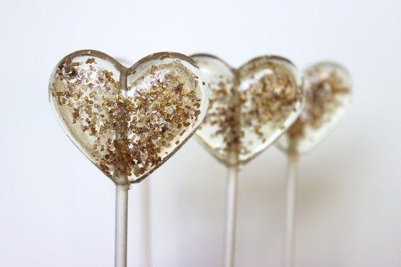 Heart Lollipops, Gold and Brown Wedding Favor, Party Favors, Brown and Gold, Candy, Lollipops, Sweet Caroline Confections- SIX LOLLIPOPS