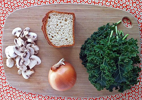 Gluten-Free Stuffing with Kale, Caramelized Onions, and Mushrooms