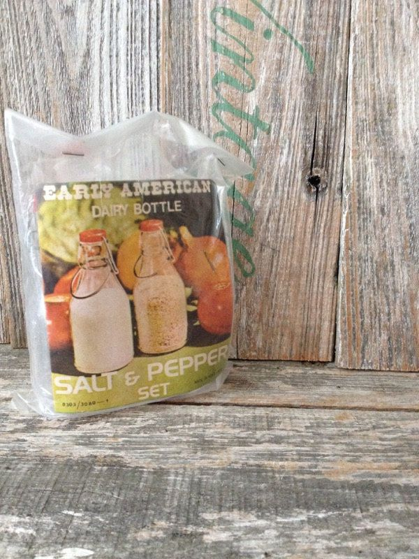 Vintage Early American Dairy Bottle Salt and Pepper Shaker in Clear Plastic with Red and Wire Top Like the Old Milk Bottles by KatiesAngelwings on Etsy