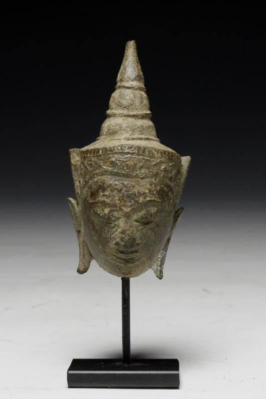 Lot: Thai Bronze Buddha Head - Ayutthaya, Lot Number: 0047, Starting Bid: $150, Auctioneer: Artemis Gallery, Auction: Asian Art Through the Ages, Date: May 17th, 2013 CEST