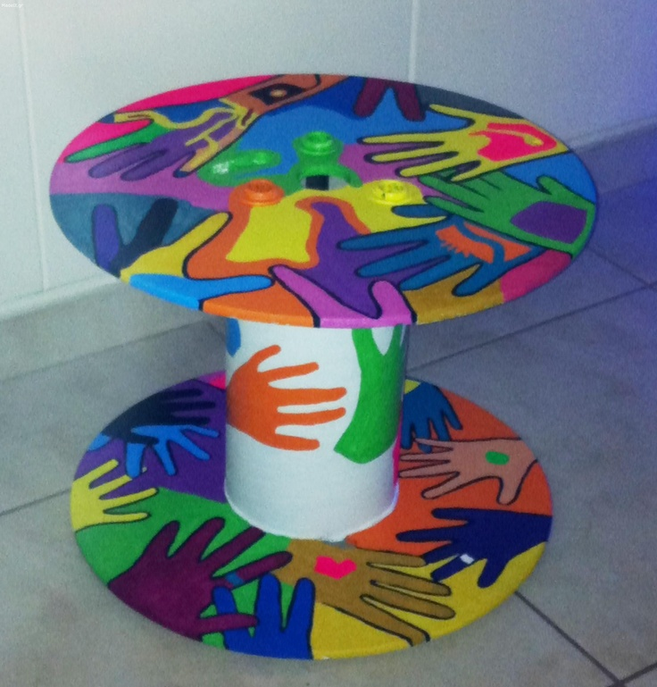 Hand painted spool table