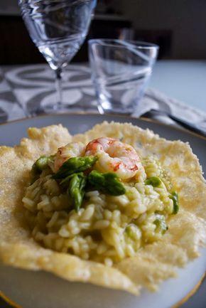 Risotto agli asparagi e gamberi in crosta di parmigiano   Barbie magica cuoca - blog di cucina
