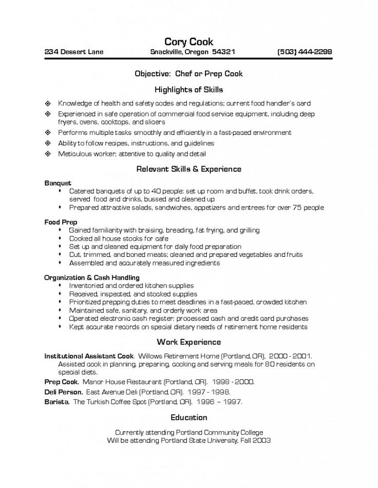 Prep Cook Resume Chef resume, Resume objective examples