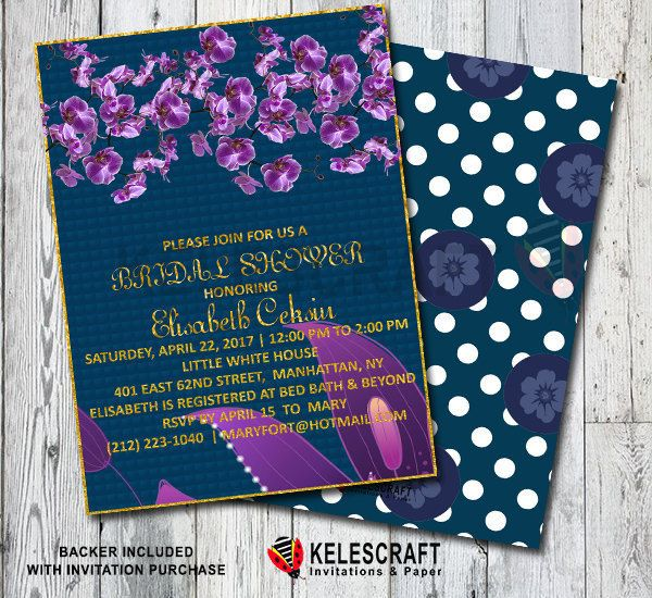 BRIDAL SHOWER INVITATION with Purple Flowers Navy White Purble Gold Glitter Text Invite Wedding DiY Printable Bridal Shower Invitation by KelesCraft on Etsy