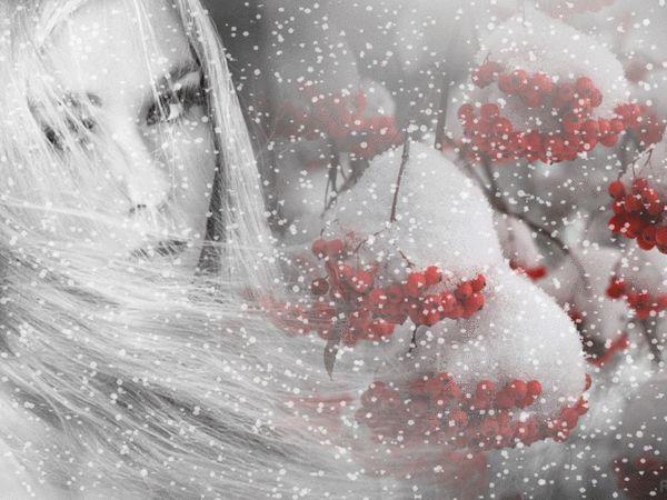 Animazione ragazza bionda con i capelli di volo su uno sfondo di neve e cenere di montagna rami coperti di neve, SIFCO ragazza bionda con i capelli battenti su uno sfondo di neve e cenere di montagna rami coperti di neve