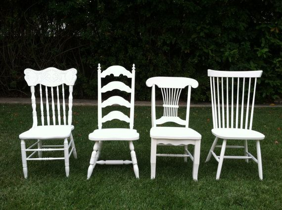 Vintage Dining Chairs Set Of 4 Mix Match White Shabby Chic Spindle ChairsEco Friendly Kitchen Chair Los Angeles USD By ThePaintedLdy