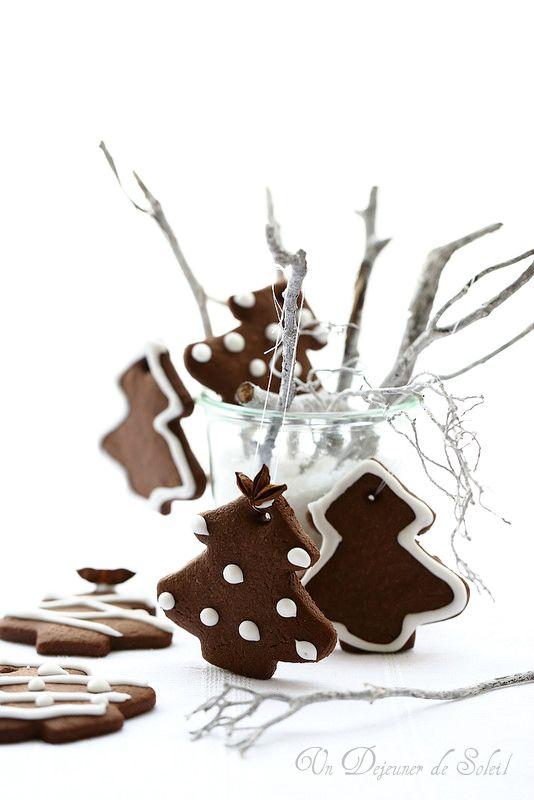Biscuits au chocolat sapin de Noël