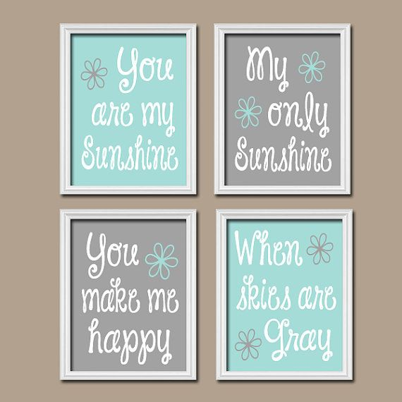 Gray Aqua You Are My Sunshine Wall Art Boy CANVAS Quote Flower Baby Crib NURSERY Song Print Set of 4 Prints Baby Decor