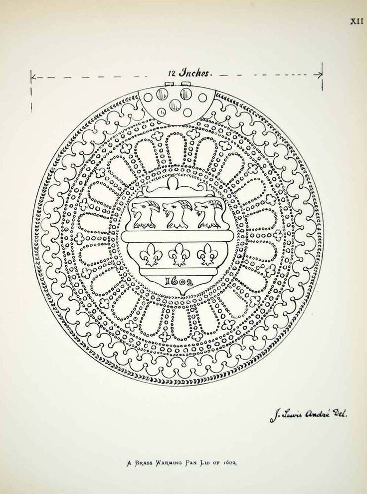 1886 lithograph of a drawing by J. Lewis André of an English brass, warming pan lid dated 1602 and bearing a coat of arms including three goats' heads above 3 fleurs-de-lys