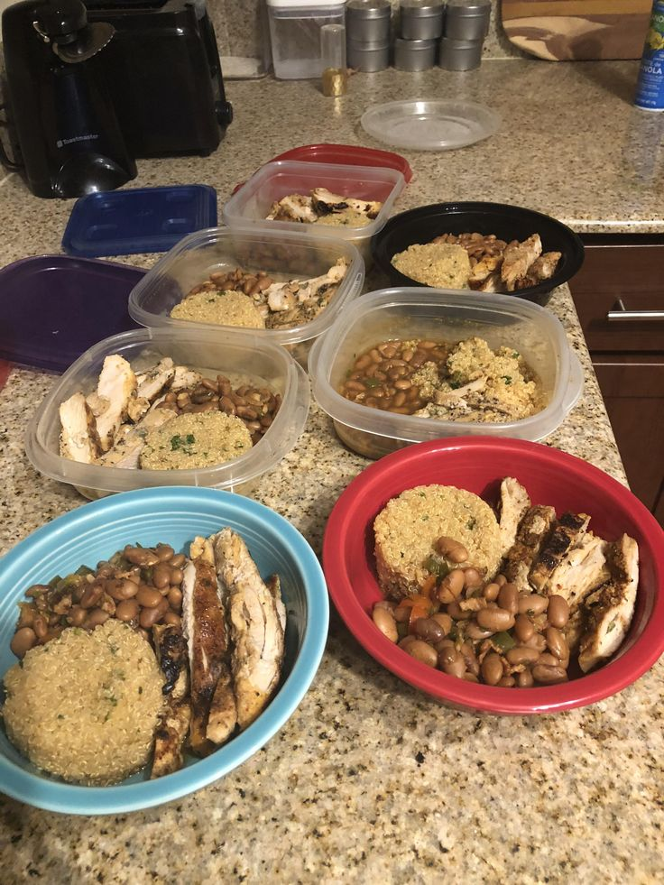 My meal prep for the week! Chicken fajitas quinoa and beans! 321 calories (per serving) before being topped with raw veggies.