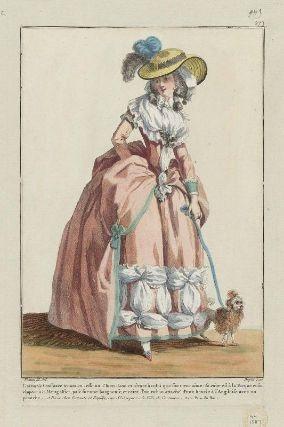 """""""L'aimable Constance tenant en lesse un Chien-Lion et rêvant à celui que son coeur aime: sa robe est à la Turque et son chapeau à la Mongolfier, pose sure une baigneuse, et ceint d'un ruban attaché d'une boucle à l'Angloise avec un panache"""", Gallerie des Modes, 1784; MFA 44.1587"""