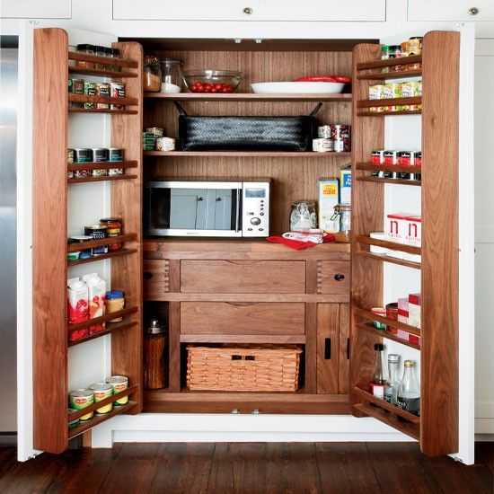 171 best kitchen larder pantry images on pinterest - Small space pantry minimalist ...