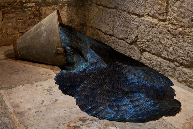 kate mccgwire layers feather sculptures at st mary in the castle