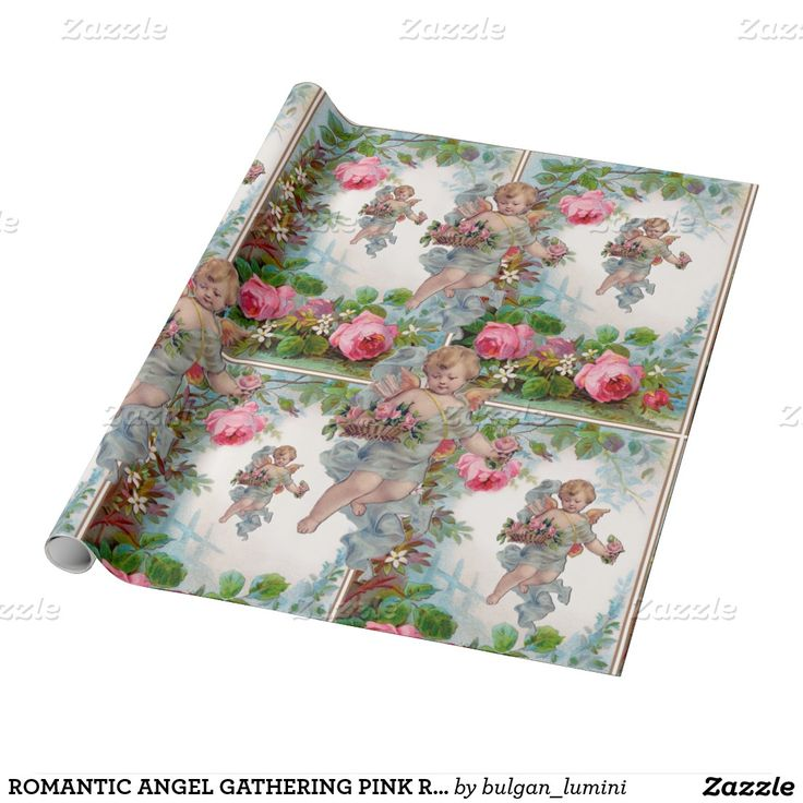 ROMANTIC ANGEL GATHERING PINK ROSES AND FLOWERS WRAPPING PAPER