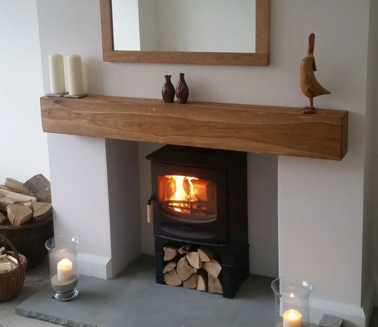 Details About Oak Beam Fireplace Mantle Floating Shelf