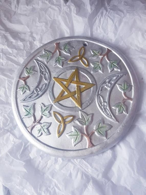 wiccan moon hand cast triple pagan painted plaque