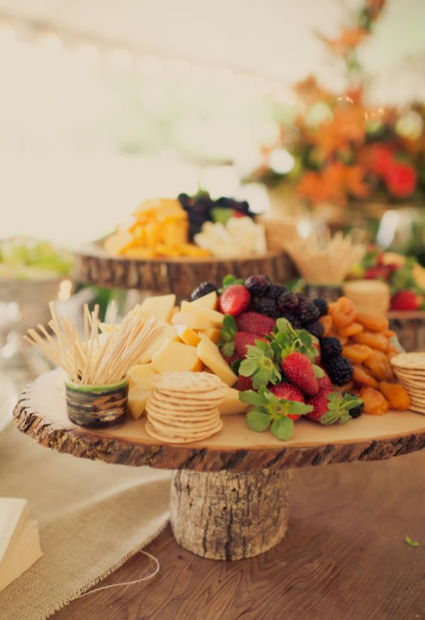 Create wooden stands to serve appetizers on.