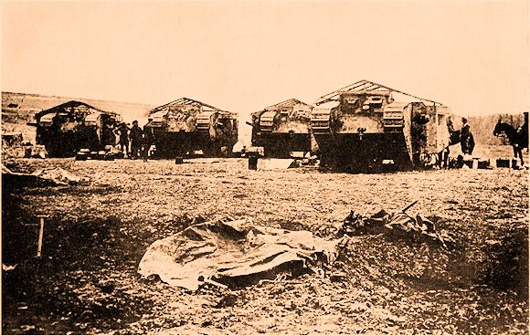 The Tanks That Attacked Flers.       Lt. Bert Chaney, 41st Division Witnessing the First Successful Tank Attack at Flers   [Dozens of tanks were committed to the 15 Sept...