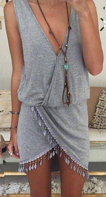 Grey Wrap Dress                                                                             Source