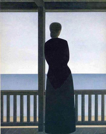 Will Barnet (USA, 1911-2012) - Woman in front of the sea, 1973