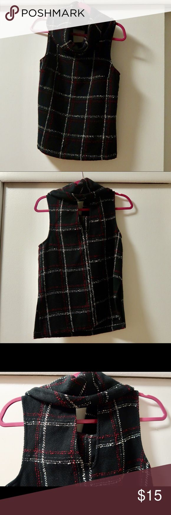 Turtleneck tank Plaid sleeveless turtleneck. Great transitional piece for your wardrobe! BCBGeneration Tops Blouses