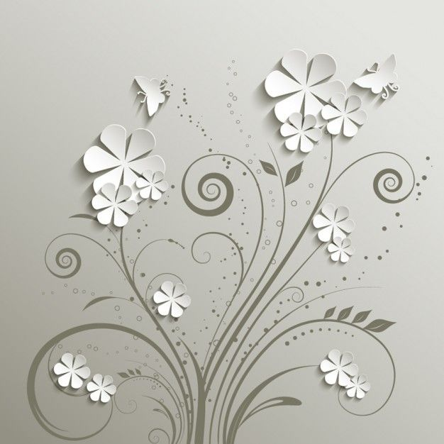 Gris Floral Background Vecteur gratuit