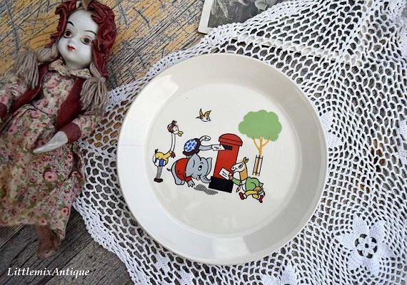 Vintage Kleine Kind Plaat Kids Plaat Kleine Kwekerij Handgemaakt Vintage Afbeeldingen