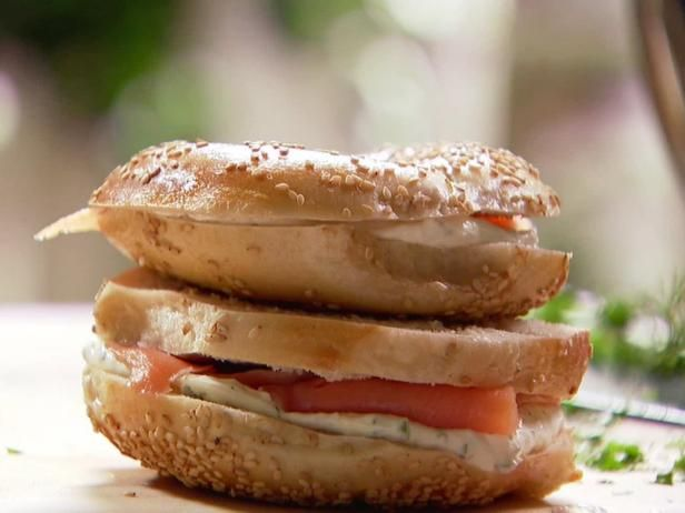 Get Smoked Salmon and Herb Cream Cheese Bagels Recipe from Food Network