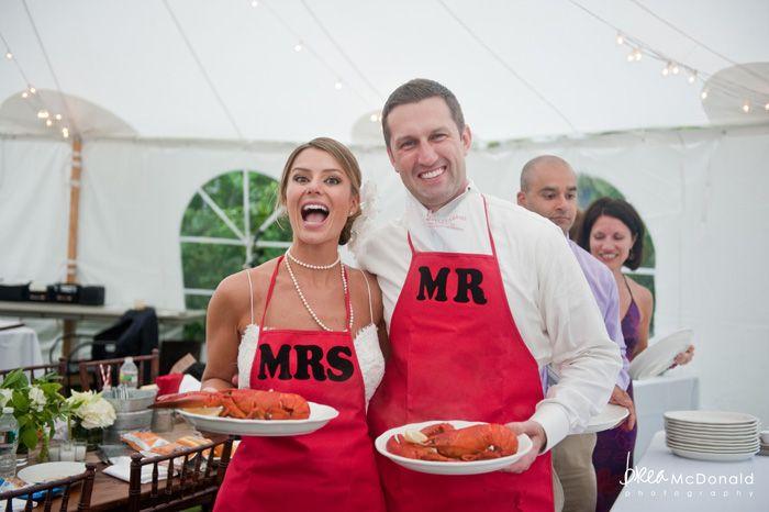 Maine lobster bake wedding reception. Adorable apron alert!