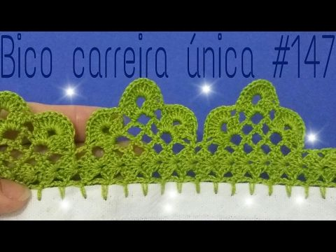 Bico de crochê carreira única #115  para panos de prato ou toalhas - YouTube