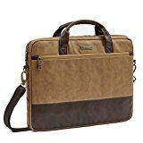 Laptoptasche 15.6 | Evecase Premium Doppelfarbige Umhängetasche mit Gepolstert Laptopfach, Fronttasche, Zubehörfach für Laptop in 15,6 Zoll - Fuchs Braun
