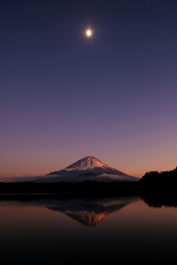 Moonlight Mt.Fuji from Lake Syoji, Yamanashi, Japan by peaceful-jp-scenery