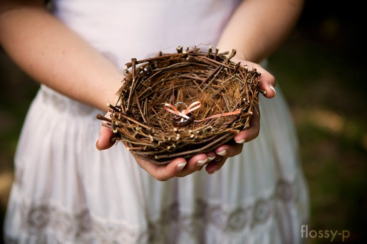 I made a nest, out of twigs from our garden, to hold our rings at our wedding. It wasn't easy, not sure how birds do it!!!!?  #handmadewedding #rusticwedding #flossy-p #ringpillow #nest #ring #weddingring