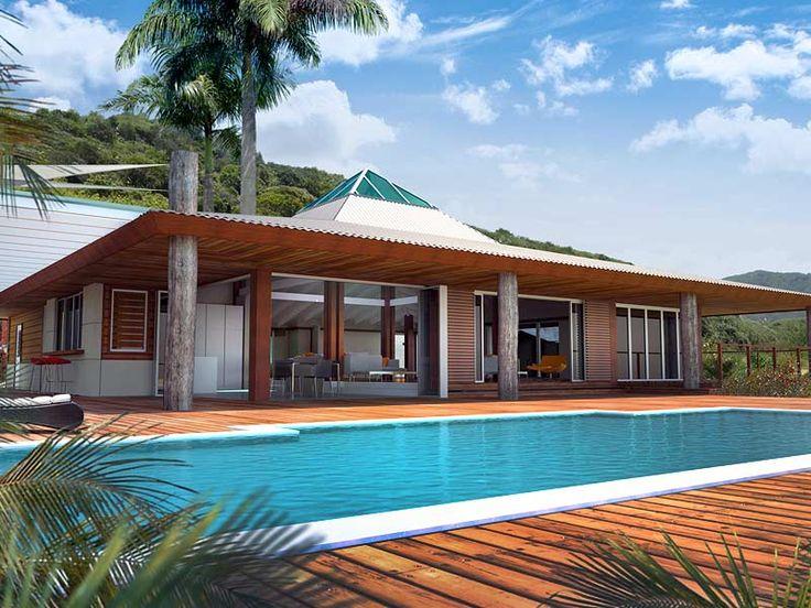 Nos maisons d'architecture tropicale répondent parfaitement au climat calédonien. Elles disposent de grandes terrasses couvertes et de larges débords de toiture qui les protègent du soleil. Elles peuvent être construites sur une base de maçonnerie traditionnelle avec une note tropicale apportée par l'installation d'éléments en bois tels que la charpente, les poteaux de terrasse, les sous-forgets et les decks. Tel : +(687) 23.66.97 — (+687) 79.54.31 bellemaison@lagoo...