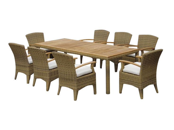 Bay Gallery Furniture Store - KAI 8 Outdoor Dining Table Setting in Half Round Wicker, $2,199.00 (http://www.baygallery.com.au/whats-new/kai-8-outdoor-dining-table-setting-in-half-round-wicker/)