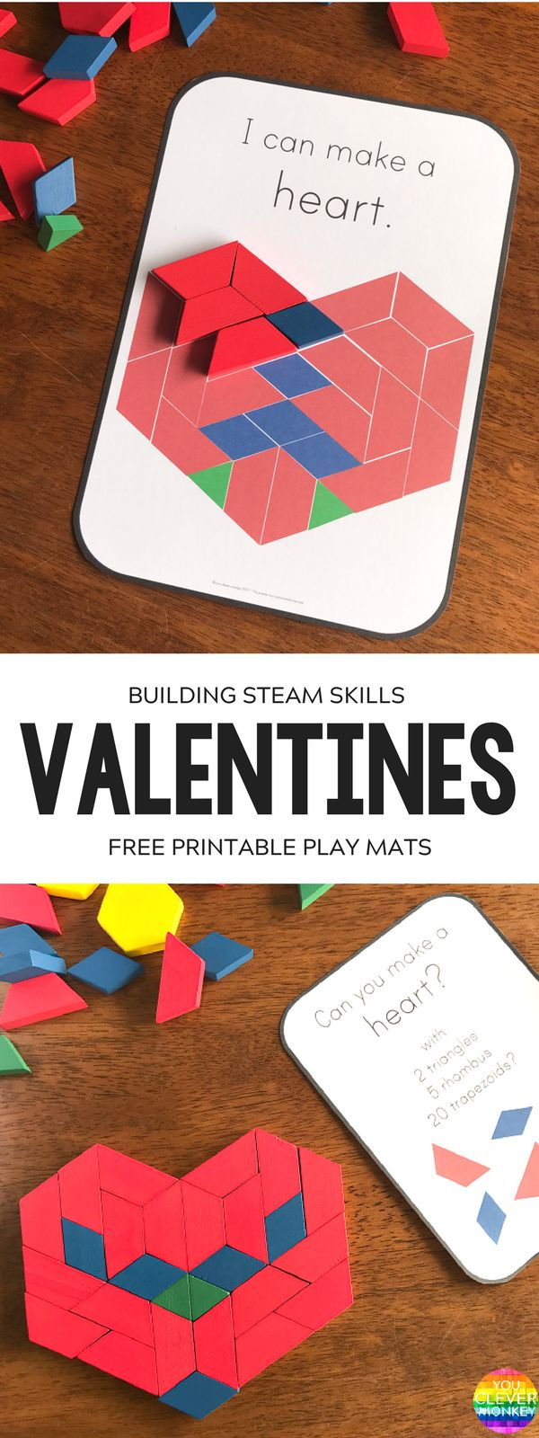 FREE Valentines Day STEAM Pattern Block Challenge Cards | you clever monkey