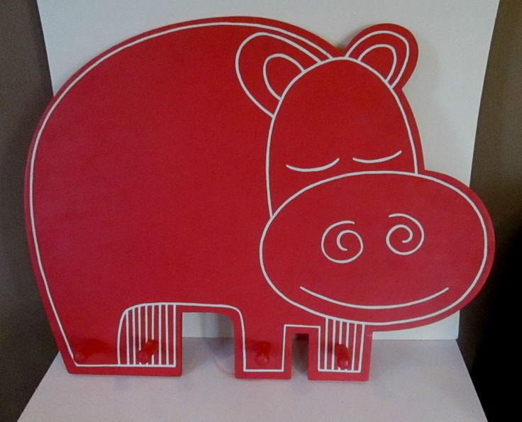 KID's COAT RACK/WALL HOOK UNIT - Solid Wood Wall Mounted RED HIPPO - 4 Pegs #Unbranded $22.99