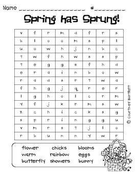 Spring word searches freebie