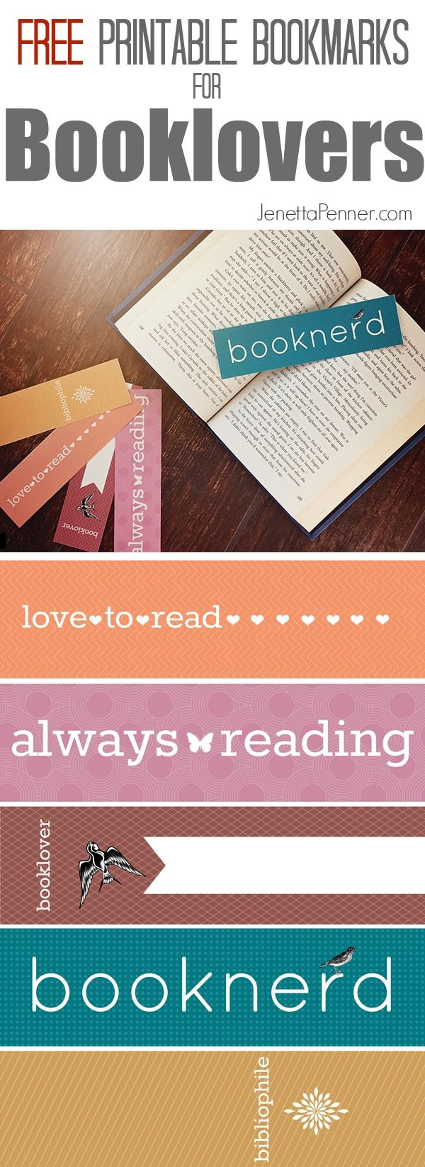 Oh my goodness.  I am ALWAYS losing my bookmarks, so this set of free printable bookmarks is perfect.  They also are great gifts for my book loving friends.