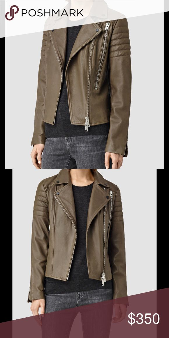 Allsaints Obika biker leather jacket dark khaki 4 This is the gorgeous current season style Allsaints Obika jacket in dark khaki colour  Elevate your collection with this luxurious leather biker jacket from AllSaints.   This classic style is crafted from a soft, smooth, and supple sheep leather with shoulder and elbow pad detailing. The piece is finished with nickel zips and ribbed back panels for a unique look. All Saints Jackets & Coats