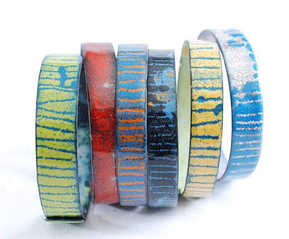 ARC-EN-CIEL   enameled bangles set by OYRZANOWSKA on Etsy