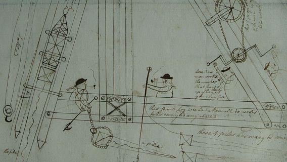 """Tekening van heistelling van James Bushel (1735) ORA, Inv. nr. 5299 """"Ik heb deze tekening bij toeval ontdekt en ik ben daar nog steeds trots op."""" Ingezonden door: J. Kroon"""